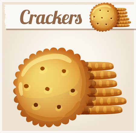 cracker: Cracker cookies. Detailed Vector Icon. Series of food and drink and ingredients for cooking. Illustration