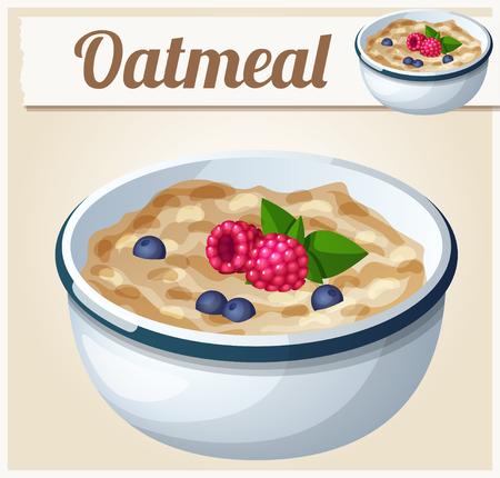 오트밀. 만화 벡터 아이콘. 음식과 음료와 요리 재료의 시리즈입니다.
