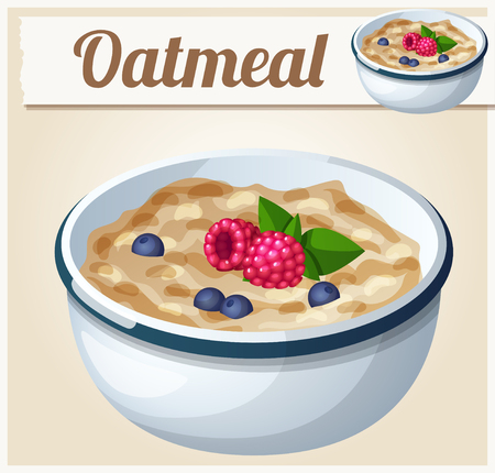 cook cartoon: Oatmeal. Cartoon Vector Icon. Series of food and drink and ingredients for cooking.
