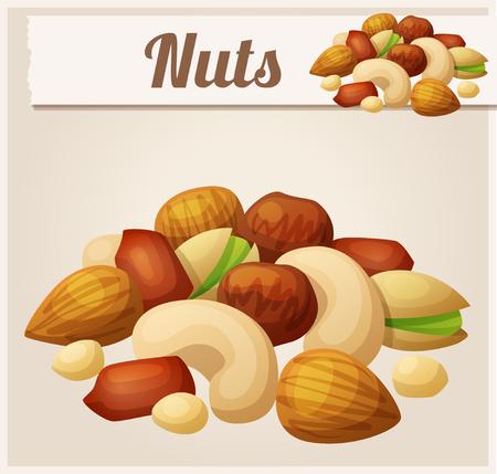 Nueces. Icono del vector de la historieta. Serie de comida y bebida y los ingredientes para cocinar. Foto de archivo - 47336718