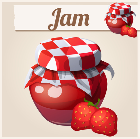 sweet food: Strawberry Jam. Cartoon vector icon.