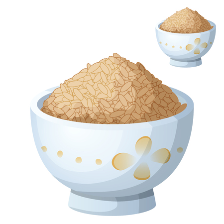 brown rice: Bowl of brown rice isolated on white background. Detailed Vector Icon. Series of food and drink and ingredients for cooking.