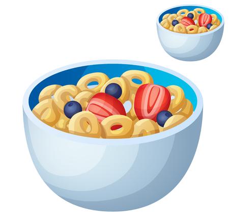 cereal: Cereales aislado sobre fondo blanco. Icono detallado del vector. Serie de comida y bebida y los ingredientes para cocinar.