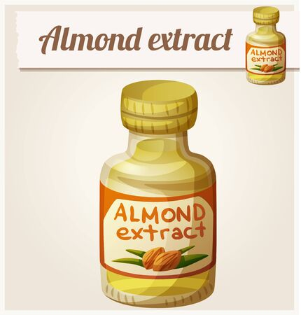 extract: Almond extract. Detailed Vector Icon. Series of food and drink and ingredients for cooking.