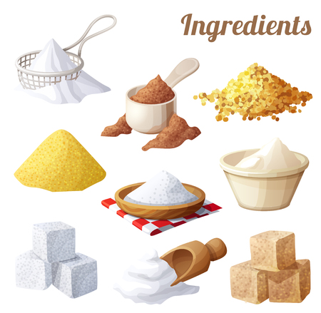 elote caricatura: Conjunto de iconos de alimentos. Ingredientes para cocinar