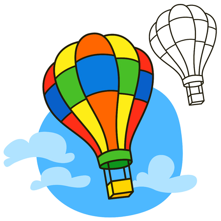 picture book: Air balloon. Coloring book page. Cartoon vector illustration Illustration