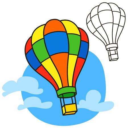Air balloon. Coloring book page. Cartoon vector illustration Illustration