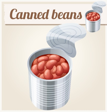 canned drink: Canned beans. Detailed Vector Icon. Series of food and drink and ingredients for cooking. Illustration