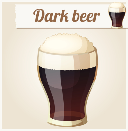 dark beer: Glass of dark beer. Detailed Vector Icon. Series of food and drink and ingredients for cooking.