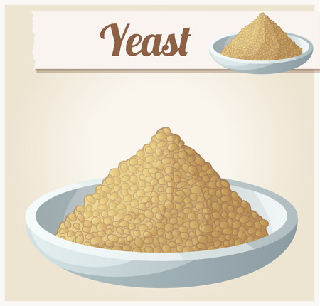 yeast: Yeast. Detailed Vector Icon. Series of food and drink and ingredients for cooking.