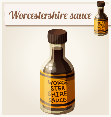 worcestershire: Worcestershire sauce. Detailed Vector Icon. Series of food and drink and ingredients for cooking.