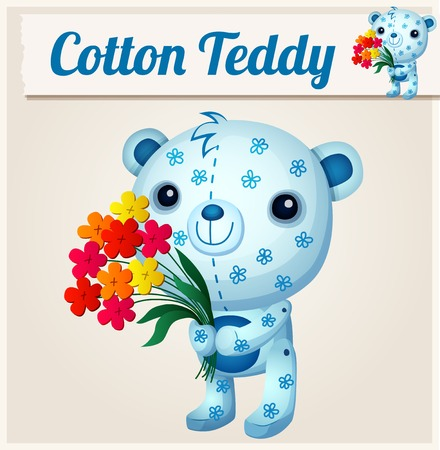 calico: Blue cotton teddy bear. Cartoon vector illustration. Series of childrens toys Illustration