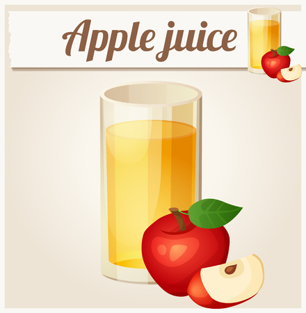 manzana roja: Jugo de manzana. Icono del vector detallada. Serie de alimentos y bebidas y los ingredientes para cocinar.
