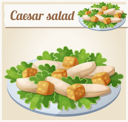 Caesar salad. Detailed Vector Icon. Series of food and drink and ingredients for cooking.