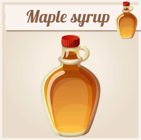 sugar maple: Maple syrup. Detailed Vector Icon. Series of food and drink and ingredients for cooking.