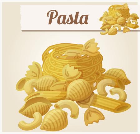 pastas: Pastas. Icono del vector detallada. Serie de alimentos y bebidas y los ingredientes para cocinar.