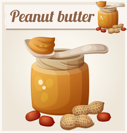 cacahuate: Mantequilla de man�. Icono del vector detallada. Serie de alimentos y bebidas y los ingredientes para cocinar.