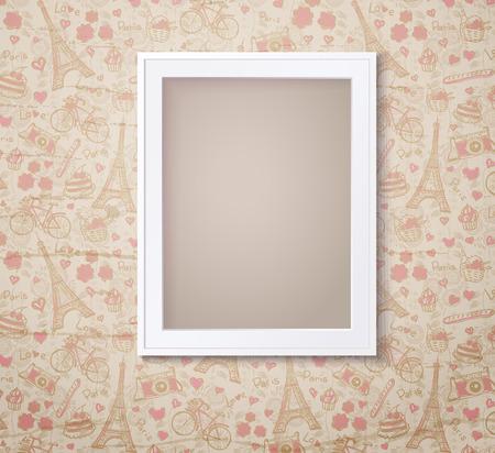 boarder: Vintage white photoframe on french fashioned wallpaper. Vector illustration Illustration