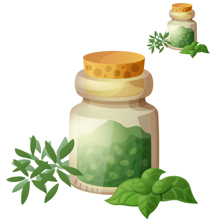 Dried Herbs. Detailed Vector Icon isolated on white background. Series of food and drink and ingredients for cooking. Illustration