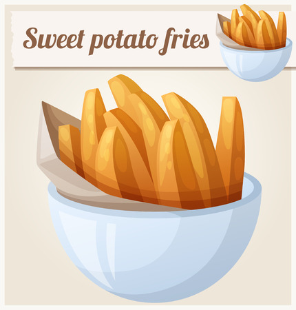 yam: Sweet potato fries. Detailed vector icon. Series of food and drink and ingredients for cooking.