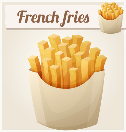 frites: French fries. Detailed vector icon. Series of food and drink and ingredients for cooking. Illustration