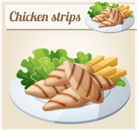 cartoon dinner: Grilled chicken strips. Detailed Vector Icon. Series of food and drink and ingredients for cooking. Illustration