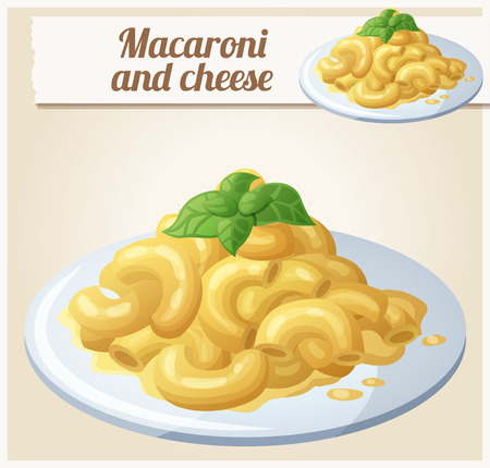 cheese cartoon: Macaroni and cheese. Detailed Vector Icon. Series of food and ingredients for cooking.