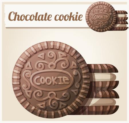 チョコレート クッキー 2。詳細なベクトルのアイコン。一連の食品と料理の食材。