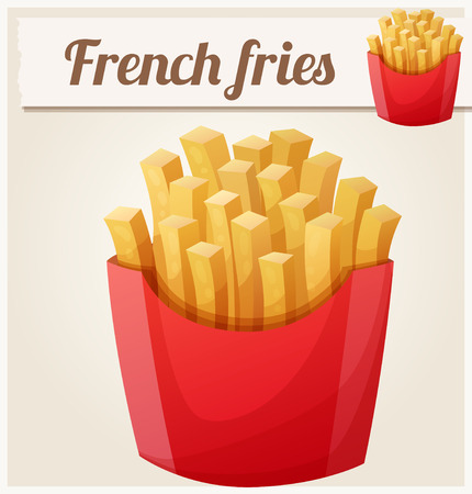 frites: Series of food and drink and ingredients for cooking. Illustration