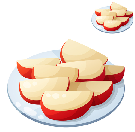 apfel: Detaillierte Vektor-Symbol auf wei�em Hintergrund. Serie von Speisen und Getr�nken und Zutaten zum Kochen.