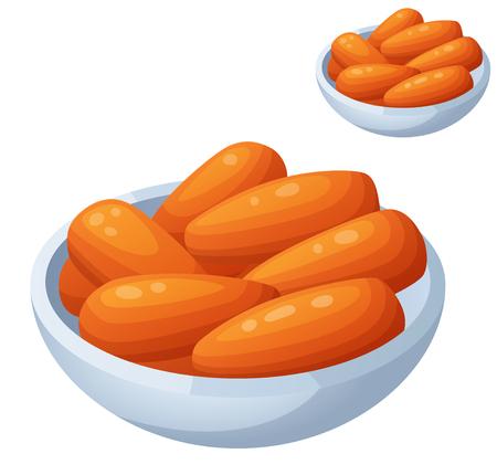 zanahoria caricatura: Detallado del icono del vector aislado en el fondo blanco. Serie de alimentos y bebidas y los ingredientes para cocinar.