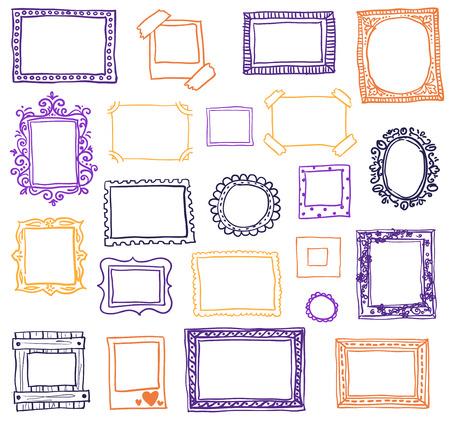 marcos cuadros: Dibujado a mano marcos de fotos.