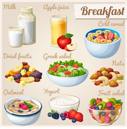cereales: Desayuno 2. Conjunto de iconos de los alimentos de vectores de dibujos animados.