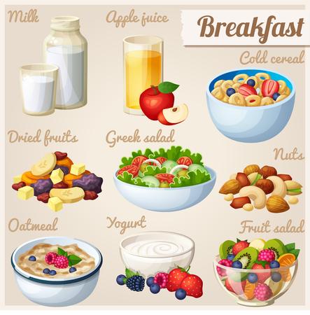 yaourts: Petit-déjeuner 2. Ensemble d'icônes alimentaires de vecteur de bande dessinée.