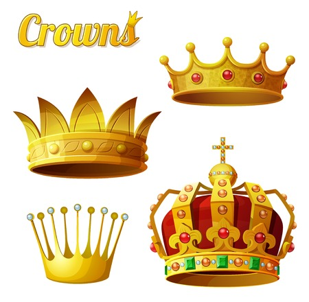 Set 3 of royal gold crowns isolated on white.