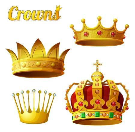 Set 3 van koninklijke gouden kronen op wit wordt geïsoleerd.