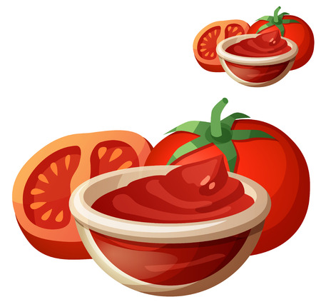 catsup: Tomato paste. Detailed Vector Icon isolated on white background.  Illustration
