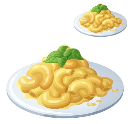 Macarrones con queso sobre fondo blanco.