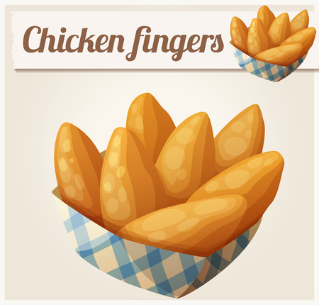 nuggets pollo: Chicken fingers in the paper basket.  Vectores