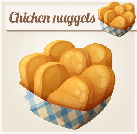 fried: Chicken nuggets in the paper basket. Illustration