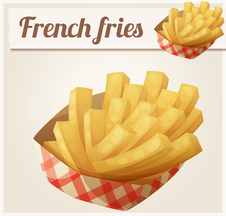 frites: French fries in the paper basket. Detailed vector icon. Series of food and drink and ingredients for cooking. Illustration