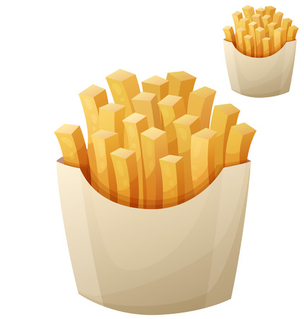 cartoon dinner: French fries. Detailed vector icon isolated on white background. Series of food and drink and ingredients for cooking.