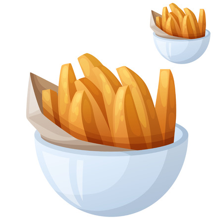 frites: Sweet potato fries. Detailed vector icon isolated on white background. Series of food and drink and ingredients for cooking.