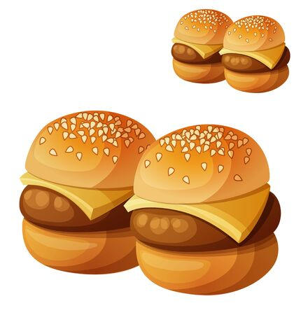 eat cartoon: Kids burgers sliders isolated on white background. Detailed vector icon. Series of food and drink and ingredients for cooking.