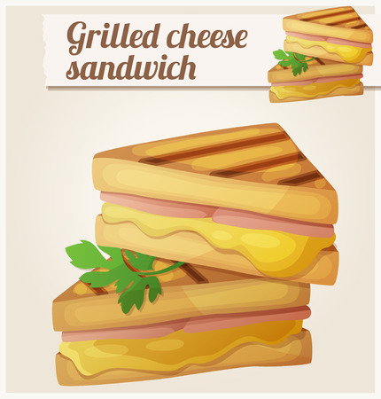 cartoon dinner: Grilled cheese sandwich. Detailed vector icon. Series of food and drink and ingredients for cooking.