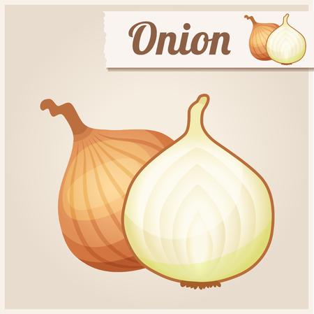 Gedetailleerde Voedsel icon Onion. Vector Illustratie