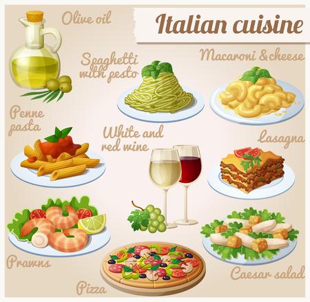 ensalada cesar: Conjunto de iconos de alimentos. Cocina italiana.