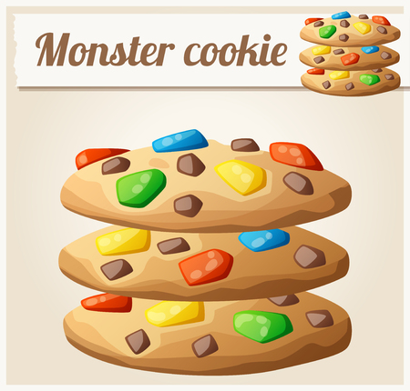 icon series: Monster cookies. Detailed vector icon. Series of food and drink and ingredients for cooking.