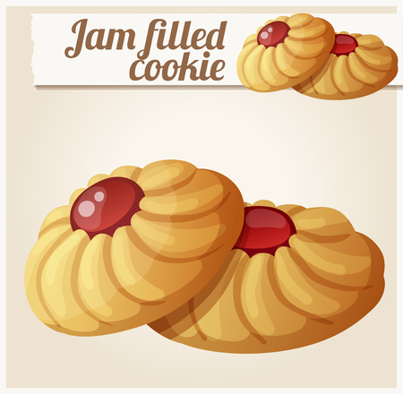 cartoon strawberry: Jam filled cookie. Detailed vector icon. Series of food and drink and ingredients for cooking.