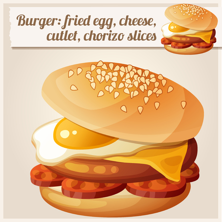 sausages: Burger with fried egg, cheddar cheese, beef cutlet, chorizo slices. Detailed vector icon. Series of food and drink and ingredients for cooking.